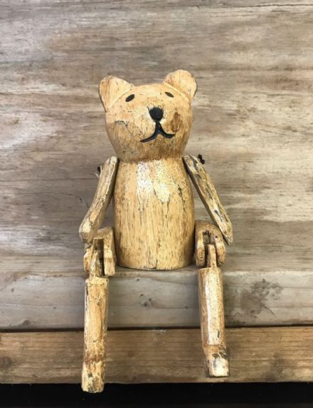 Old Fashioned Teddy Bear Vintage Finish Wooden Puppet Ornament 24 cm
